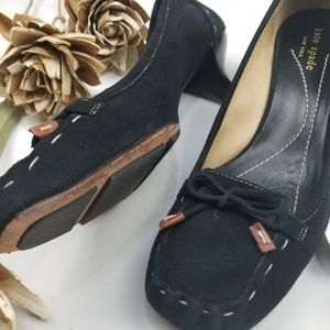Kate Spade - Black Suede 2in Heels bow tie 9.5 m